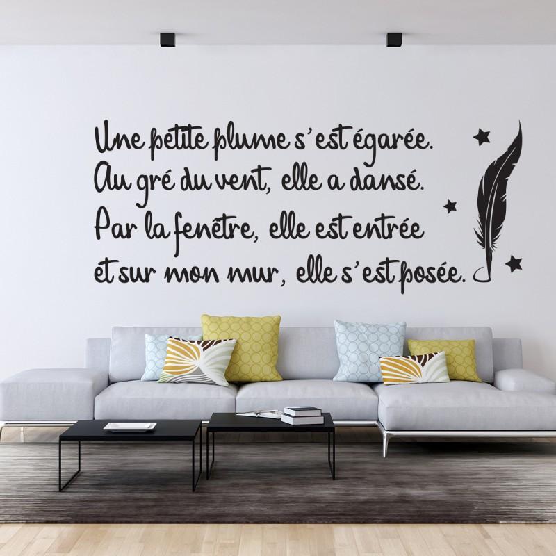 sticker citation po sie une petite plume pas cher stickers citations discount stickers. Black Bedroom Furniture Sets. Home Design Ideas