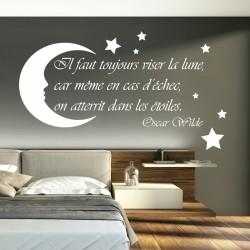 Sticker citation il faut toujours viser la lune