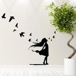 Sticker jolie petite fille et petits oiseaux