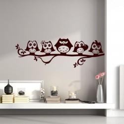 Sticker petite famille de hiboux