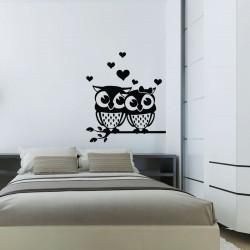 Sticker hiboux amoureux et coeurs
