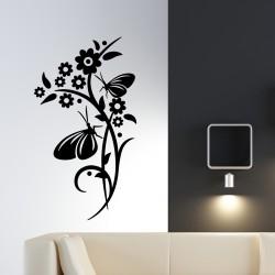 Sticker papillons posés sur la tige d'une fleur