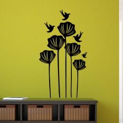 Sticker colibris survolant des fleurs