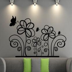 Sticker petits papillons et grandes fleurs