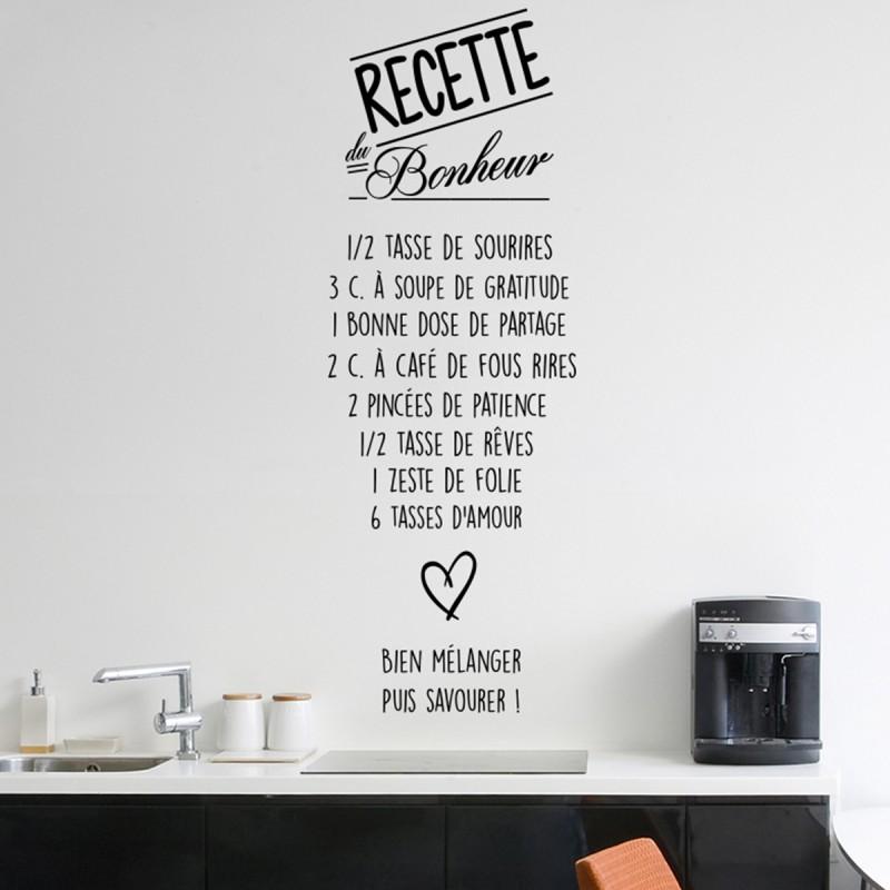Sticker citation recette du bonheur pas cher stickers for Stickers phrase cuisine