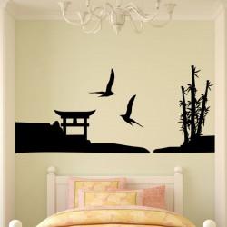 Sticker oiseaux et paysage japonais