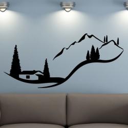 Sticker paysage d'une maison dans la montagne