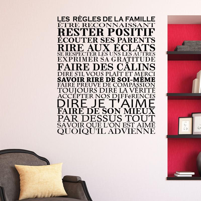 Sticker les r gles de la famille pas cher stickers - Stickers muraux les regles de la maison ...