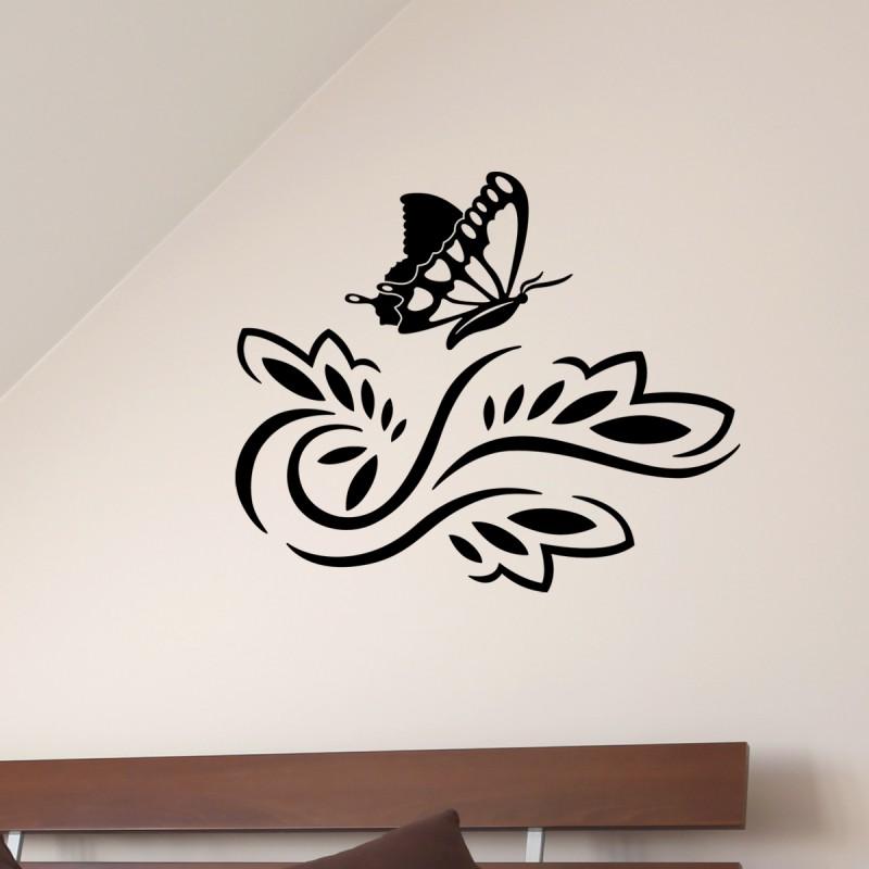 sticker petit papillon sur une fleur pas cher stickers nature discount stickers muraux. Black Bedroom Furniture Sets. Home Design Ideas