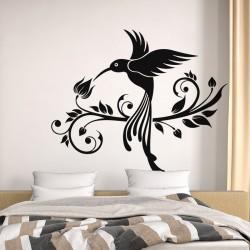 Sticker Mural oiseau et fleur