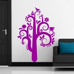 Sticker mural design plante