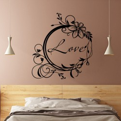 Sticker mural love design fleur