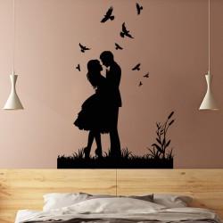 Sticker mural ballade romantique avec des oiseaux