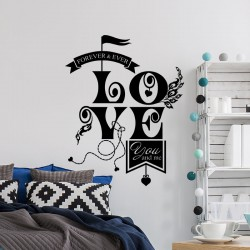Sticker mural love You & me forever