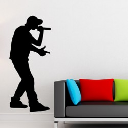 Sticker mural silhouette rappeur