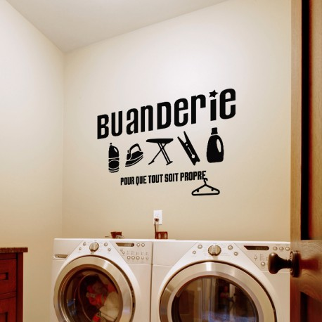 sticker mural buanderie pas cher stickers muraux discount stickers muraux madeco stickers. Black Bedroom Furniture Sets. Home Design Ideas