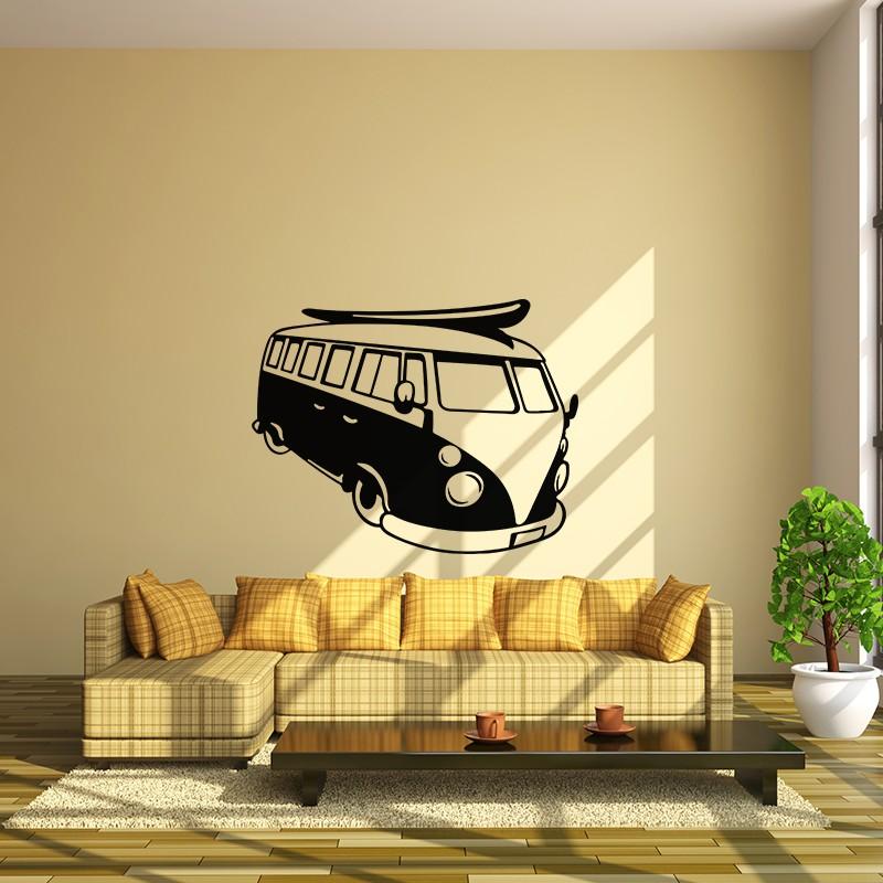 sticker planche de surf sur une vw combi pas cher. Black Bedroom Furniture Sets. Home Design Ideas