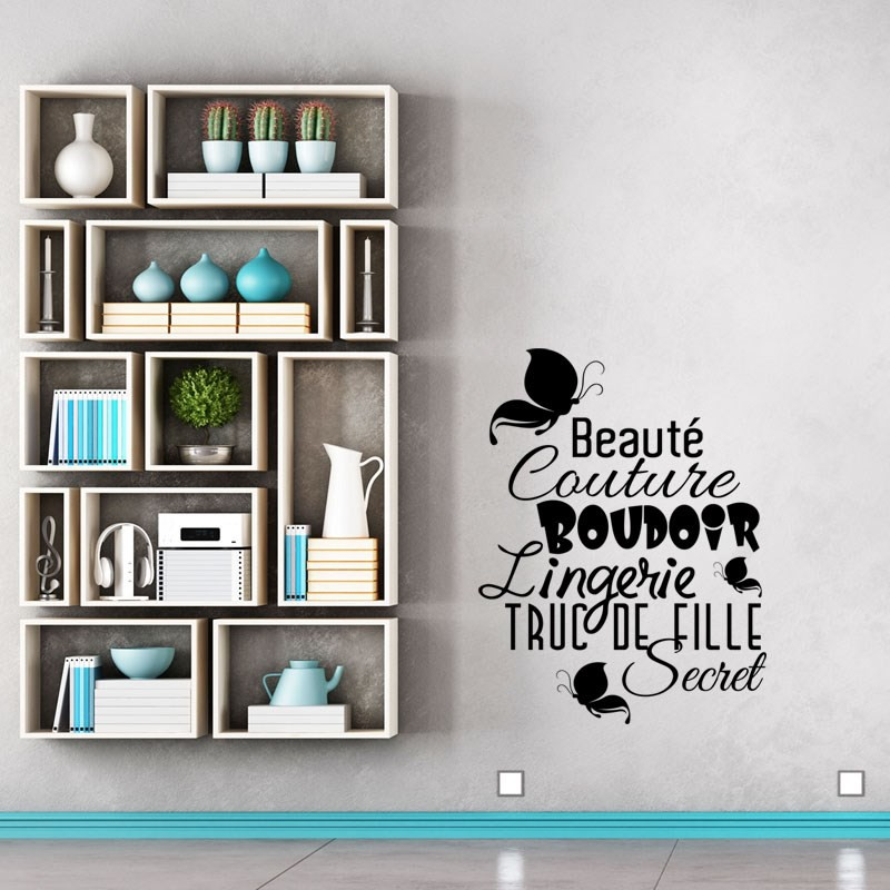 sticker beaut couture boudoir pas cher stickers citations discount stickers muraux. Black Bedroom Furniture Sets. Home Design Ideas