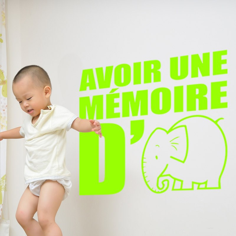 sticker avoir une m moire d 39 l phant pas cher stickers citations discount stickers muraux. Black Bedroom Furniture Sets. Home Design Ideas