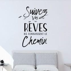 Sticker citation suivez vos rêves