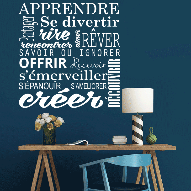sticker citation apprendre cr er pas cher stickers citations discount stickers muraux. Black Bedroom Furniture Sets. Home Design Ideas