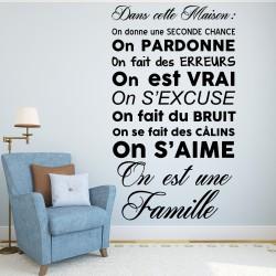 Sticker Dans cette maison on est une famille