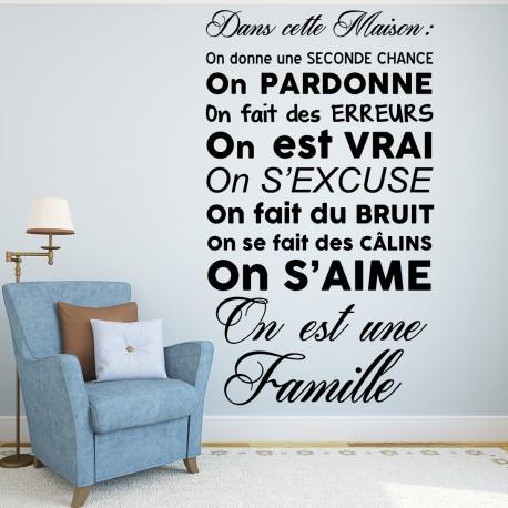 Sticker Dans Cette Maison On Est Une Famille Pas Cher  Stickers