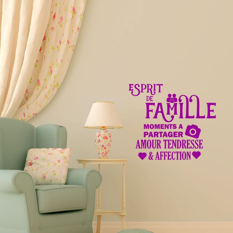 sticker esprit de famille pas cher stickers citations discount stickers muraux madeco stickers. Black Bedroom Furniture Sets. Home Design Ideas