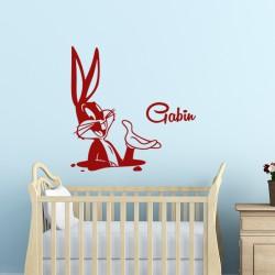 Sticker prénom personnalisable lapin chez lui