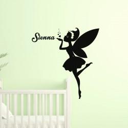 Sticker prénom personnalisable La fée coeur