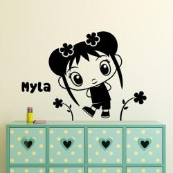 Sticker prénom personnalisable Fille Kawaii et fleurs