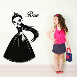 Sticker prénom personnalisable Jolie princesse