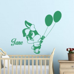 Sticker prénom personnalisable Petite lapine