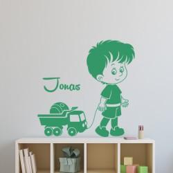 Sticker prénom personnalisable garçon et camion