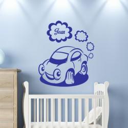Sticker prénom personnalisable Petite voiture