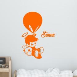 Sticker prénom personnalisable bébé avec ballon
