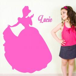 Sticker prénom personnalisable princesse au bal