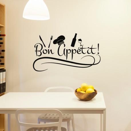 sticker cuisine bon app tit pas cher stickers citations. Black Bedroom Furniture Sets. Home Design Ideas