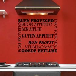 Sticker cuisine Bon appétit en plusieurs langues