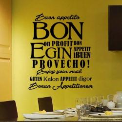 Sticker cuisine Bon appétit multilingues