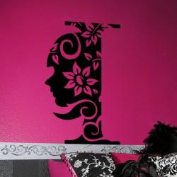 Sticker fleur Tête de femme