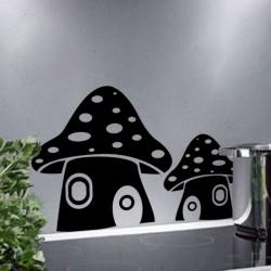 Sticker fleur Maisons en champignons