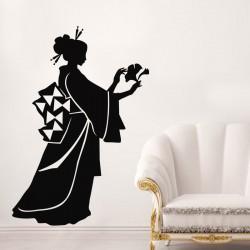 Sticker fleur Silhouette japonaise