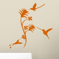 Sticker fleur 3 colibris