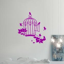Sticker oiseaux et cage