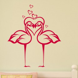 Sticker flamants rose amoureux