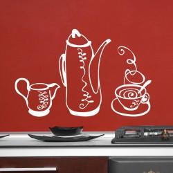 Sticker déco ensemble thé-café