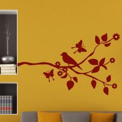 Sticker moineau et papillons