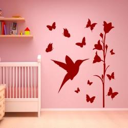 Sticker Oiseau, fleur et papillons