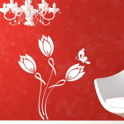 Sticker Bourgeons de fleurs et papillon